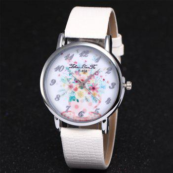 ZhouLianFa Water Bottle Floral Pattern Women'S Watch Crocodile Pattern Strap Casual Watch with Gift Box - WHITE