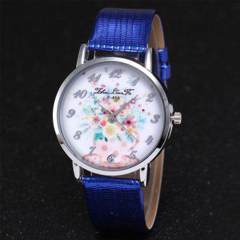 ZhouLianFa Water Bottle Floral Pattern Women'S Watch Crocodile Pattern Strap Casual Watch with Gift Box - BLUE