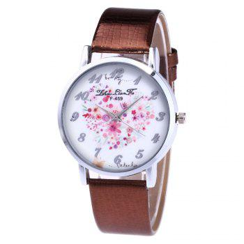 ZhouLianFa A Floral Motif of Women'S Watch Crocodile Pattern Strap with Gift Box - COFFEE COFFEE