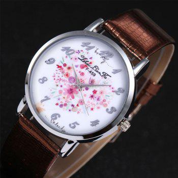 ZhouLianFa A Floral Motif of Women'S Watch Crocodile Pattern Strap with Gift Box -  COFFEE