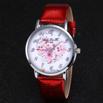 ZhouLianFa A Floral Motif of Women'S Watch Crocodile Pattern Strap with Gift Box -  RED