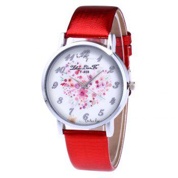 ZhouLianFa A Floral Motif of Women'S Watch Crocodile Pattern Strap with Gift Box - RED RED
