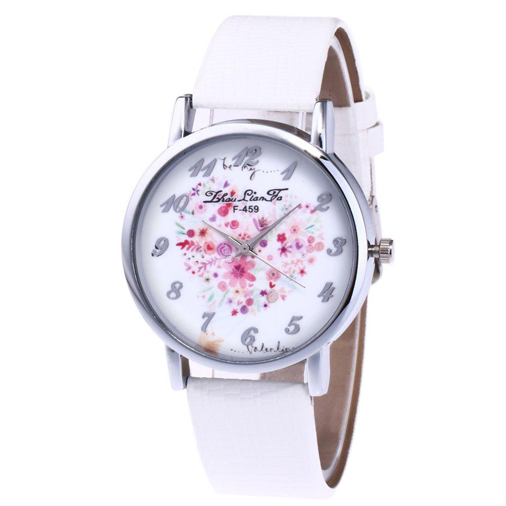 ZhouLianFa A Floral Motif of Women'S Watch Crocodile Pattern Strap with Gift Box - WHITE