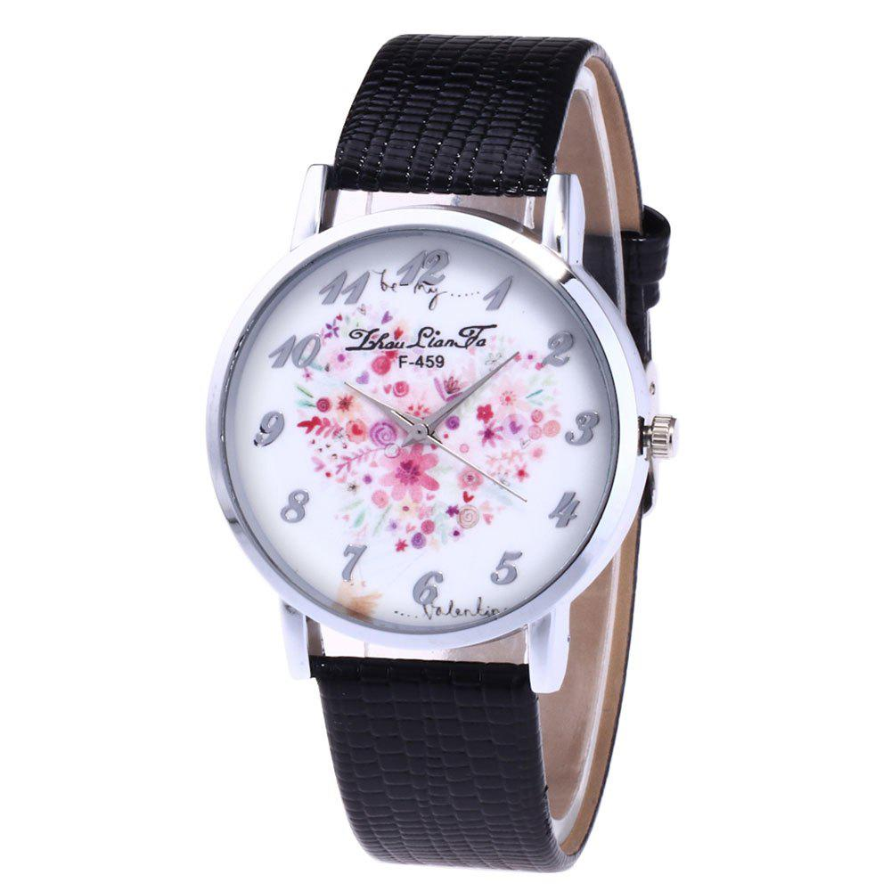 ZhouLianFa A Floral Motif of Women'S Watch Crocodile Pattern Strap with Gift Box - BLACK