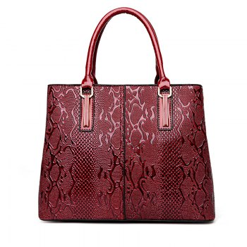 Shoulder Bag Embossed Lady Bag Two Pieces - RED