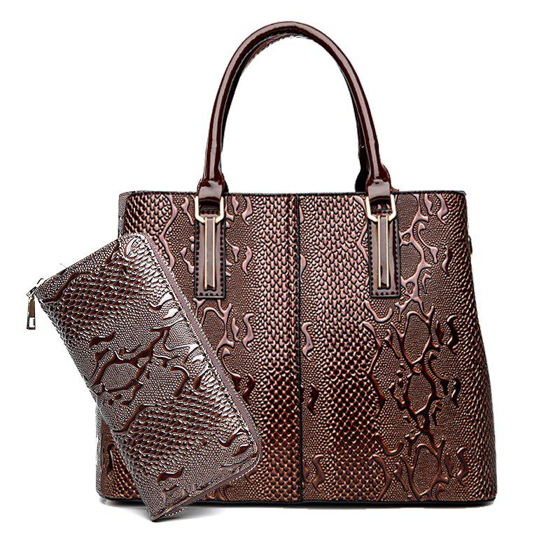 Shoulder Bag Embossed Lady Bag Two Pieces - BROWN