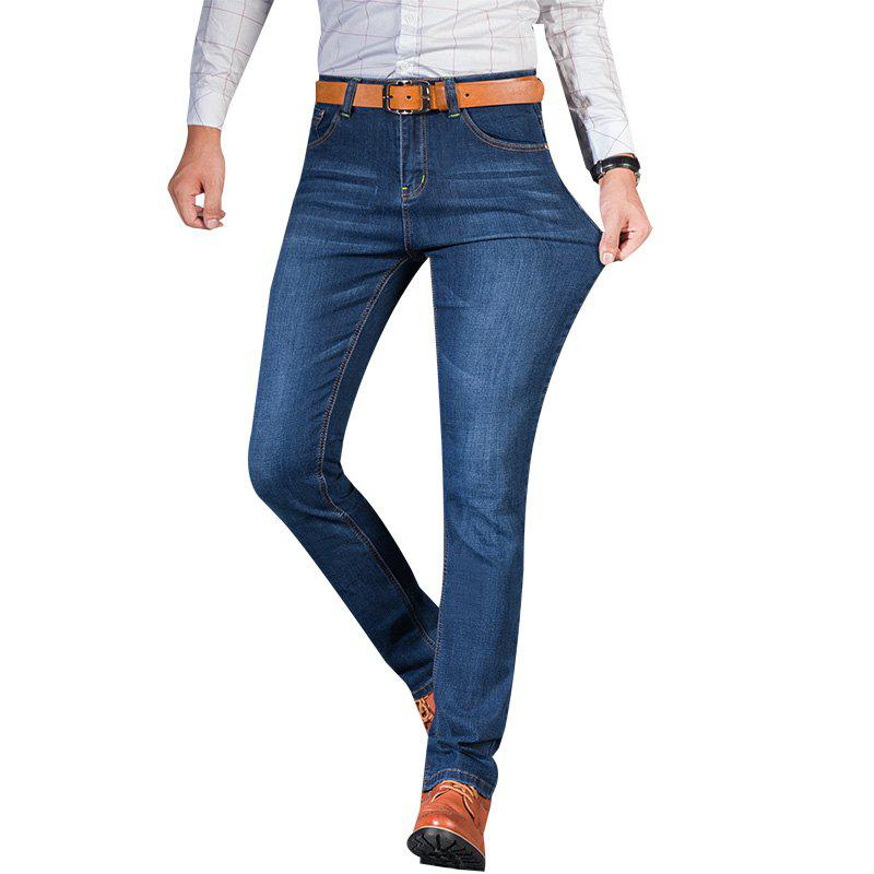 Men Straight Fit Stretch Denim Pants Large Size Trousers Casual Cowboys Man Jeans afs jeep autumn jeans mens straight denim trousers loose plus size 42 cowboy jeans male man clothing men casual botton page 7