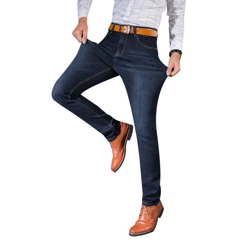 цены Men Straight Fit Stretch Denim Pants Large Size Trousers Casual Cowboys Man Jeans