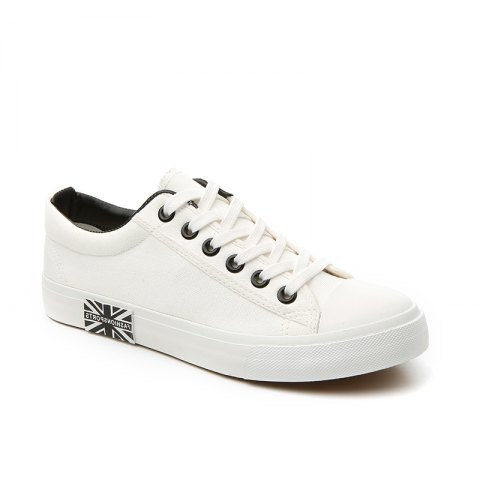 Men's Sneakers Classic Lace Up Leisure Simple Design Shoes - WHITE 40