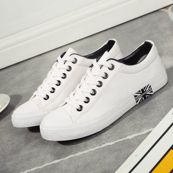 Men's Sneakers Classic Lace Up Leisure Simple Design Shoes - WHITE 44
