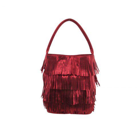 Hand Bag Fringe Shinny Suede Metallic Red Multi Pockets - RED VERTICAL