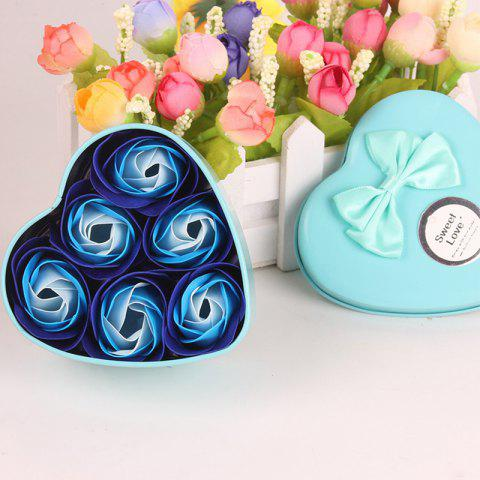 Simulation Flower Elegant Lifesome Artificial Soap Flowers With Box - BLUE 9.5X10X4.8CM