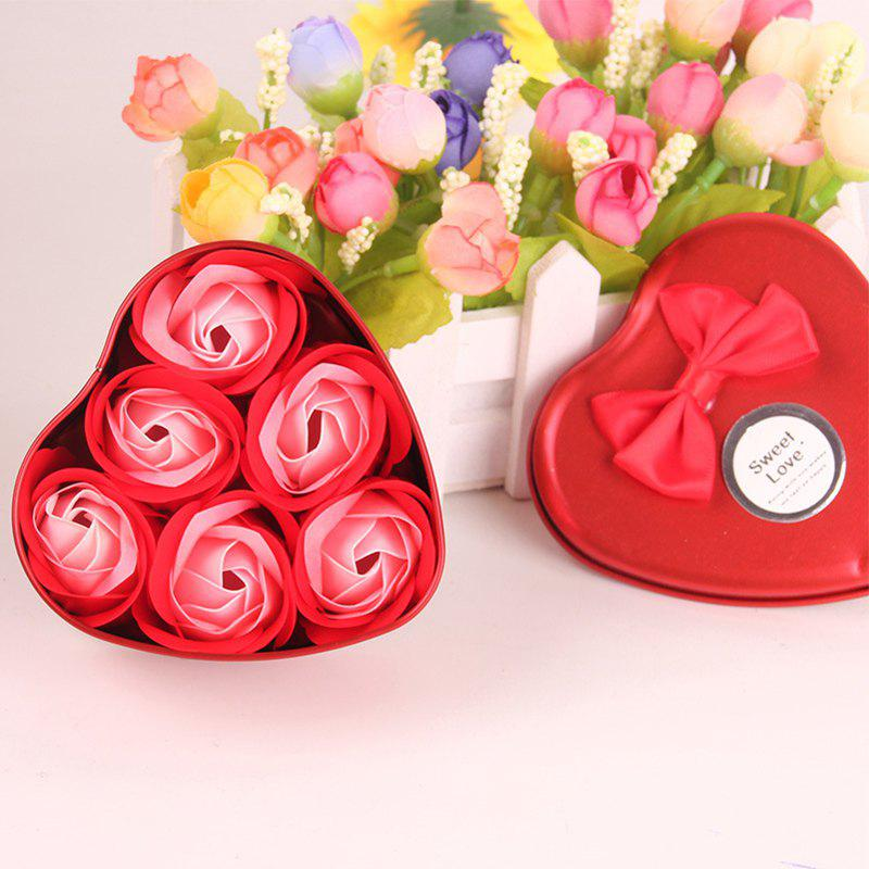 Simulation Flower Elegant Lifesome Artificial Soap Flowers With Box - RED 9.5X10X4.8CM