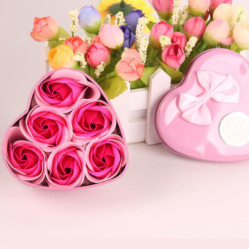 Simulation Flower Elegant Lifesome Artificial Soap Flowers With Box - PINK 9.5X10X4.8CM