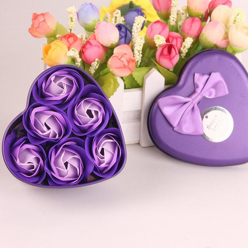 Simulation Flower Elegant Lifesome Artificial Soap Flowers With Box - PURPLE 9.5X10X4.8CM