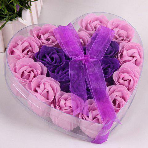 Soap Flower Box Gift  Box Pattern Vivid Romantic Rose Flowers Design Display - PURPLE 16X16X4.3CM