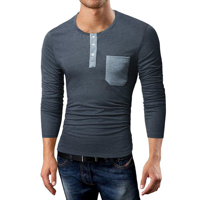 New Men'S Casual T-Shirt Pocket Spell Color Long-Sleeved T- Shirt t shirt trussardi collection t shirt
