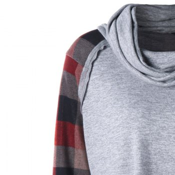 In 2018  The New Checkered Long Sleeve Round Neck Sweatshirt - GRAY 2XL