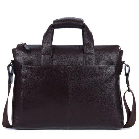 Genuine Leather Men Briefcare Brand High Quality Men'S Business Handbags Two Color Real Leather Soft Men Laptop Bag - BROWN SIZE S
