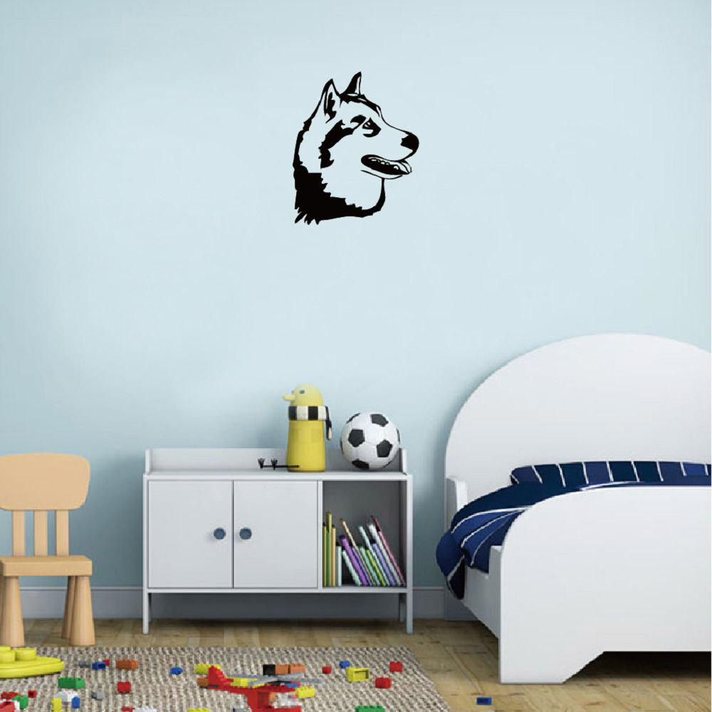 DSU  Husky Dog Siberian Malamute Silhouette Wall Sticker Cartoon Pet Dog Vinyl Wall Decor dsu details about happy girls wall sticker vinyl decal home room decor quote