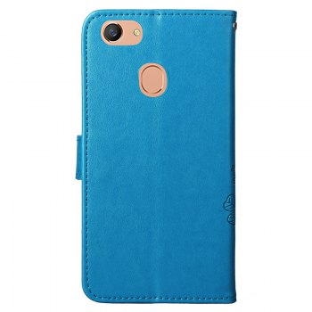 Lucky Clover Embossed Leather Case Cover for Oppo F5 - BLUE