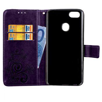 Lucky Clover Embossed Leather Case Cover for Oppo F5 - PURPLE
