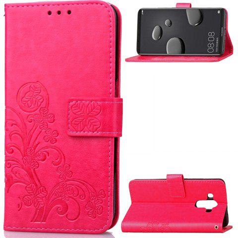 Lucky Clover Embossed Leather Case Cover for Huawei Mate10 Pro - ROSE RED