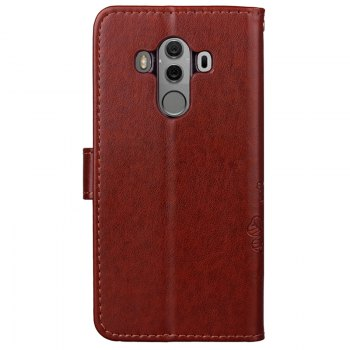Lucky Clover Embossed Leather Case Cover for Huawei Mate10 Pro - BROWN