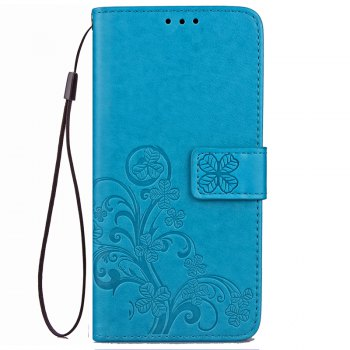 Lucky Clover Embossed Leather Case Cover for Huawei Mate10 Pro - BLUE