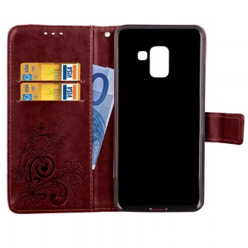 Lucky Clover Embossed Leather Case Cover for Samsung Galaxy A8 2018 - BROWN