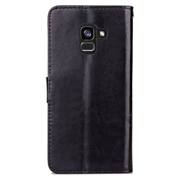 Lucky Clover Embossed Leather Case Cover for Samsung Galaxy A8 2018 - BLACK