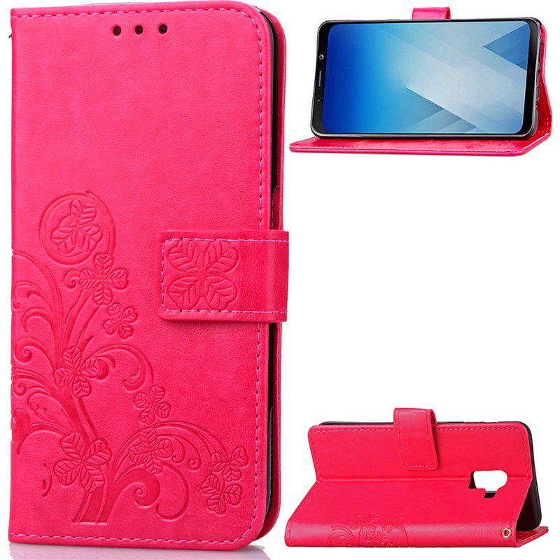 Lucky Clover Embossed Leather Case Cover for Samsung Galaxy A8 2018 - ROSE RED