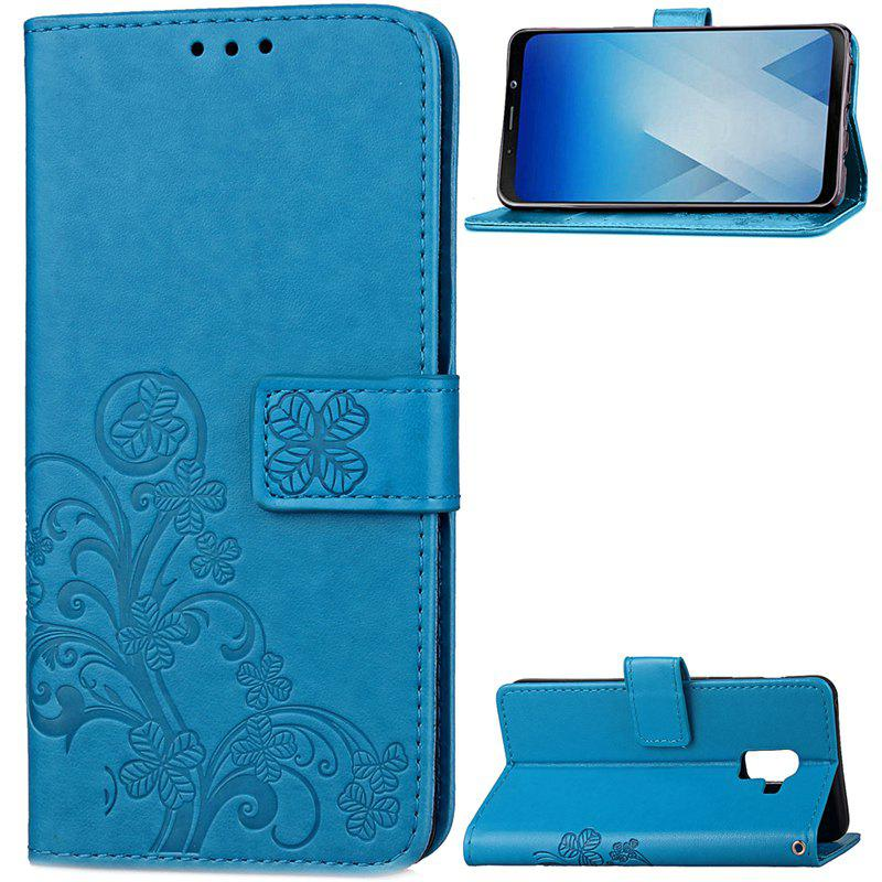 Lucky Clover Embossed Leather Case Cover for Samsung Galaxy A8 2018 - BLUE