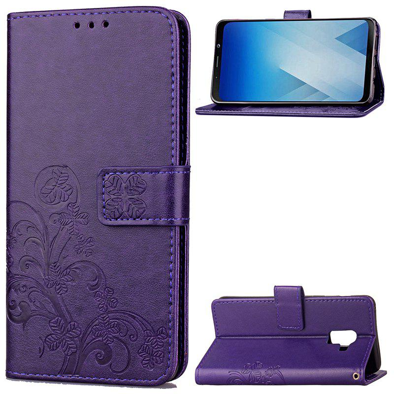 Lucky Clover Embossed Leather Case Cover for Samsung Galaxy A8 2018 - PURPLE