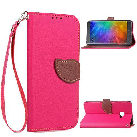 Hit Color Leaf Protection Leather Case Cover for Xiaomi Note 2 - ROSE RED