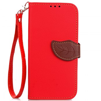 Hit Color Leaf Protection Leather Case Cover for Xiaomi Note 2 - RED