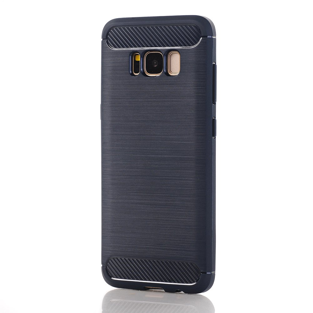 Soft TPU Carbon Fiber Cover Case for Samsung Galaxy S8 - DEEP BLUE