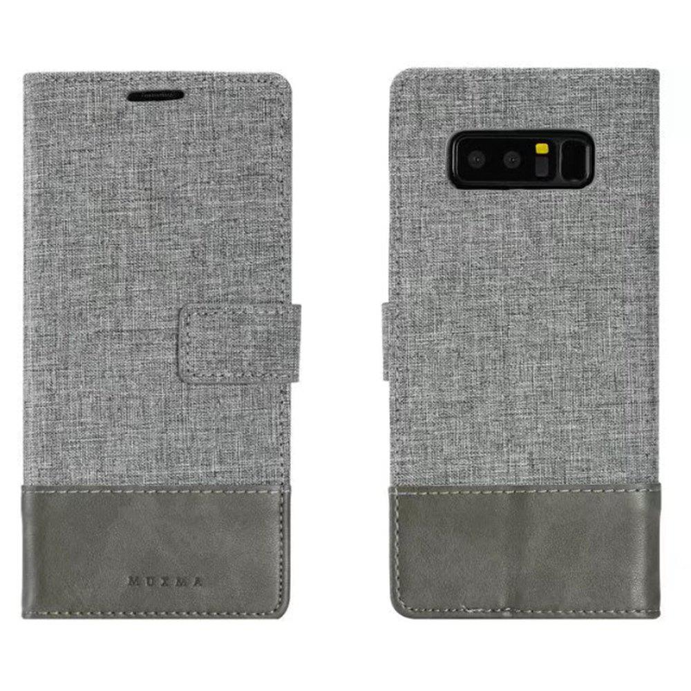 MUXMA Mixed Colors Cross Lines Retro Leather Case for Nokia 8 - GRAY