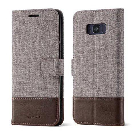 MUXMA Mixed Colors Cross Lines Retro Leather Case for Samsung Galaxy S8 Plus - BROWN