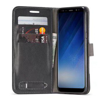 MUXMA Mixed Colors Cross Lines Retro Leather Case for Samsung Galaxy S8 Plus - BLACK