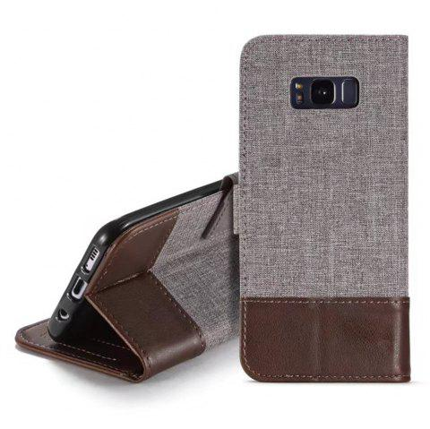 MUXMA Mixed Colors Cross Lines Retro Leather Case for Samsung Galaxy S8 - BROWN