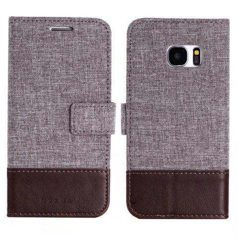 MUXMA Mixed Colors Cross Lines Retro Leather Case for Samsung Galaxy S7 - BROWN