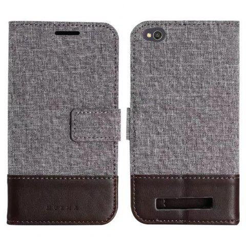 MUXMA Mixed Colors Cross Lines Vintage Leather Case for Xiaomi Redmi 4A - BROWN
