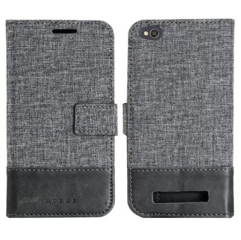 MUXMA Mixed Colors Cross Lines Retro Leather Case for Xiaomi Redmi 4A - GRAY