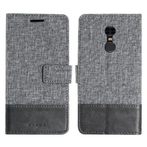 MUXMAMixed Colors Cross Lines Vintage Leather Case for  Xiaomi Redmi Note 4x - GRAY