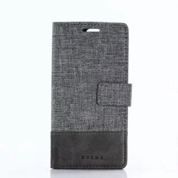 MUXMA Mixed Colors Cross Lines Retro Leather Case for Huawei Hornor 9 - GRAY