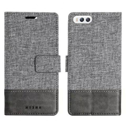 MUXMA Mixed Colors Cross Lines Retro Leather Case for Xiaomi 6 - GRAY