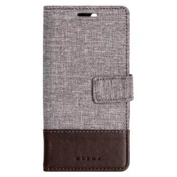 MUXMA Mixed Colors Cross Lines Retro Leather Case for Xiaomi 6 - BROWN