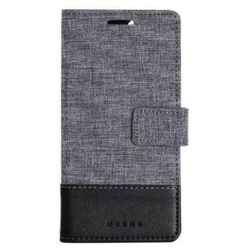 MUXMA Mixed Colors Cross Lines Retro Leather Case for Xiaomi 6 - BLACK