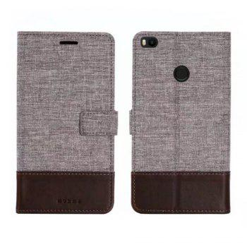 MUXMA Mixed Colors Cross Lines Retro Leather Case for Xiaomi Max 2 - BROWN